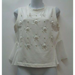 1 State Small Off White Crop Top Shirt Beaded